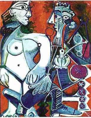 #104 MAN WITH NUDE WOMAN Pablo Picasso Estate Signed Giclee