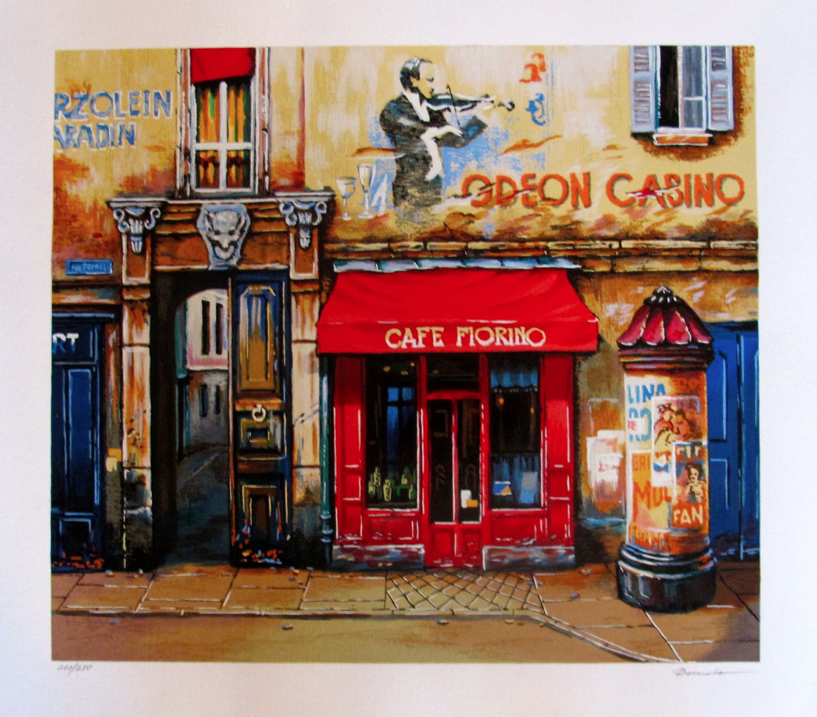 Alexander Borewko CAFE FIORINO Hand Signed Limited Edition Serigraph