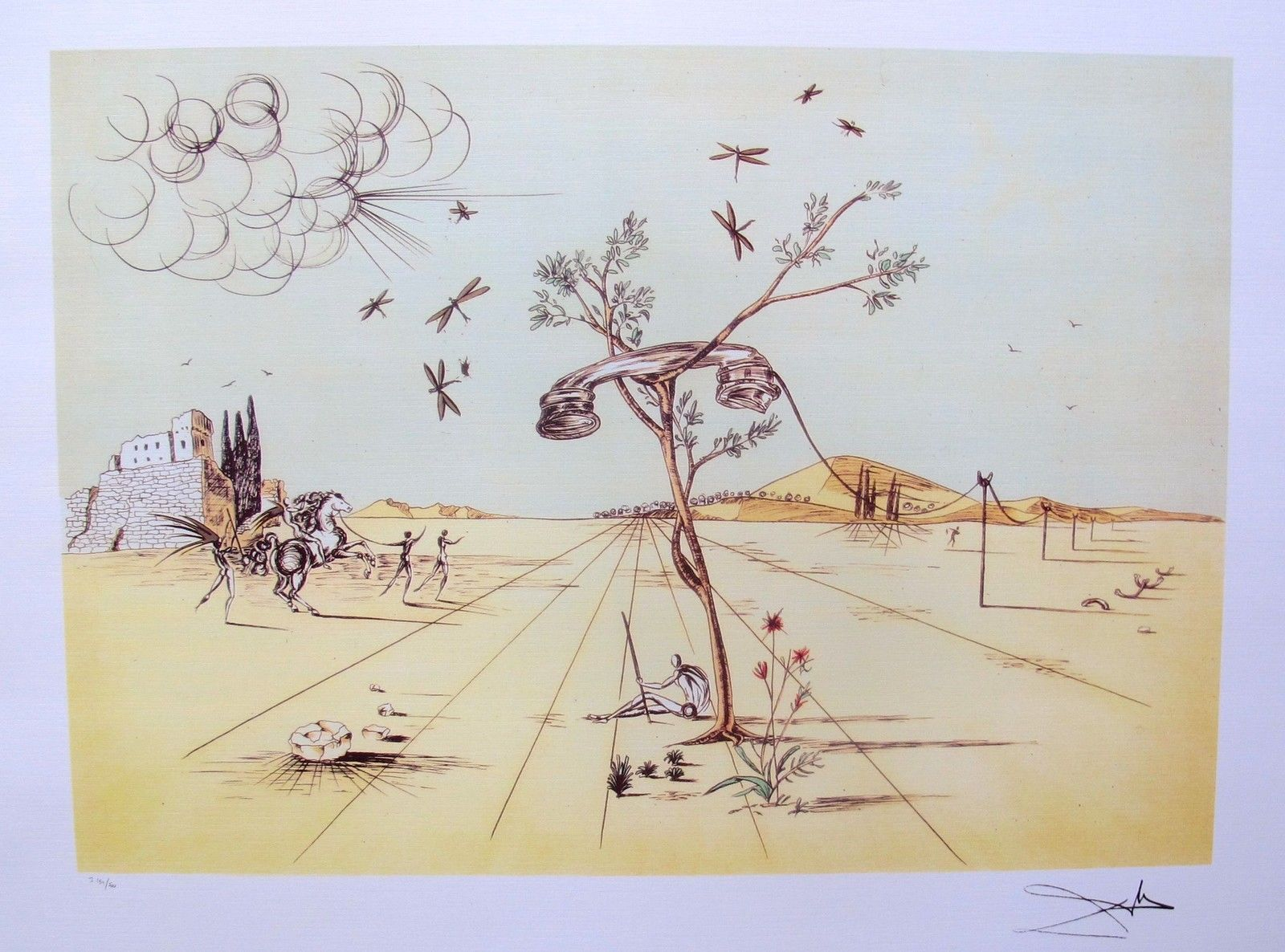 Salvador Dali DISEMBODIED TELEPHONE IN THE DESERT Limited Edition Lithograph
