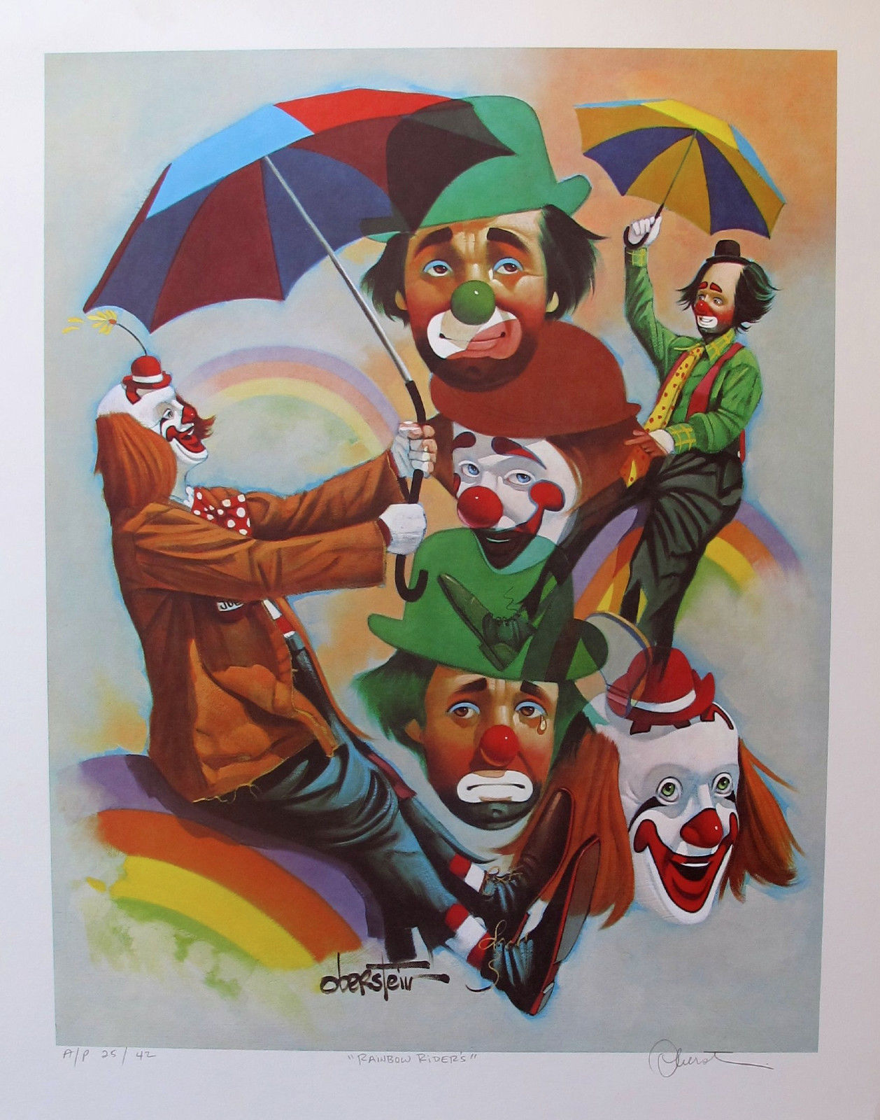 Chuck Oberstein RAINBOW RIDERS CLOWNS Limited Edition Hand Signed Lithograph
