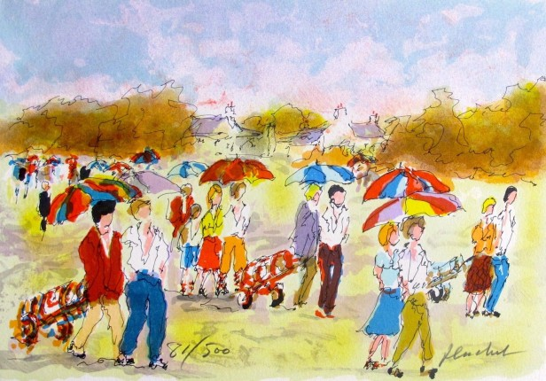Urbain Huchet GOLF LES PARPLUIES Hand Signed Limited Edition Lithograph