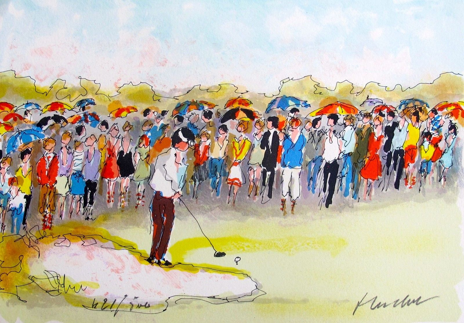 Urbain Huchet GOLF LA FOULE Hand Signed Limited Edition Lithograph