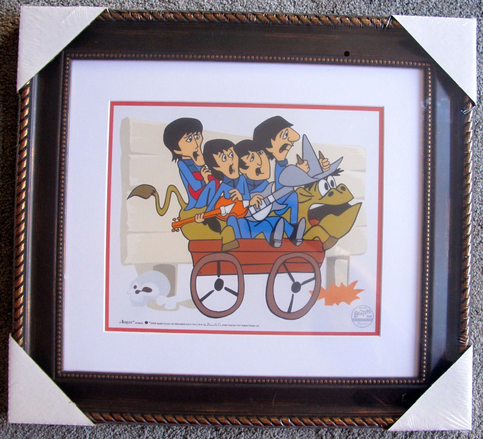 THE BEATLES BULLRIDE Framed Animation Cartoon Sericel Cel