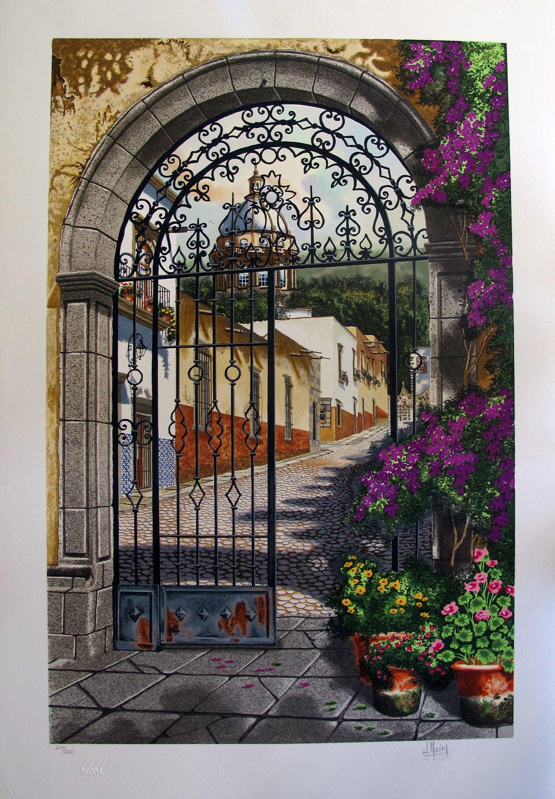 "JUAN MEDINA ""GATEWAY TO THE VILLAGE"" Hand Signed Limited Edition Serigraph"