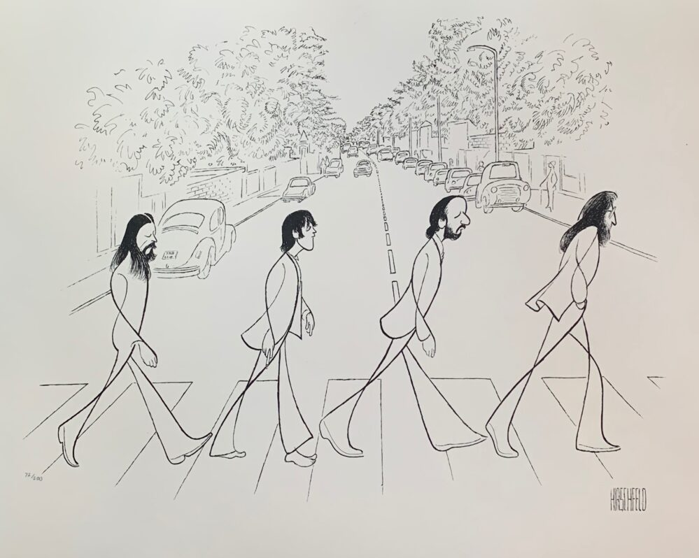 AL HIRSCHFELD BEATLES ABBEY ROAD Facsimile Signed Limited Edition Lithograph