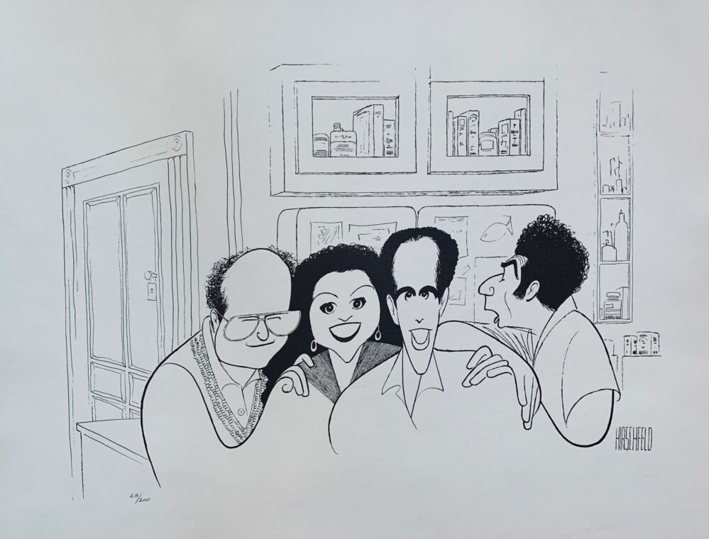 AL HIRSCHFELD SEINFELD CAST FINALE Plate Signed Limited Edition Lithograph