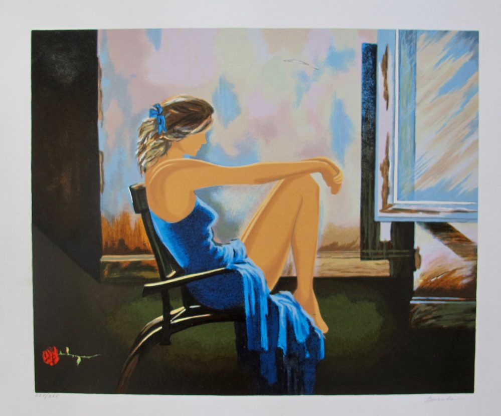 Alexander Borewko LADY IN BLUE Hand Signed Limited Edition Serigraph