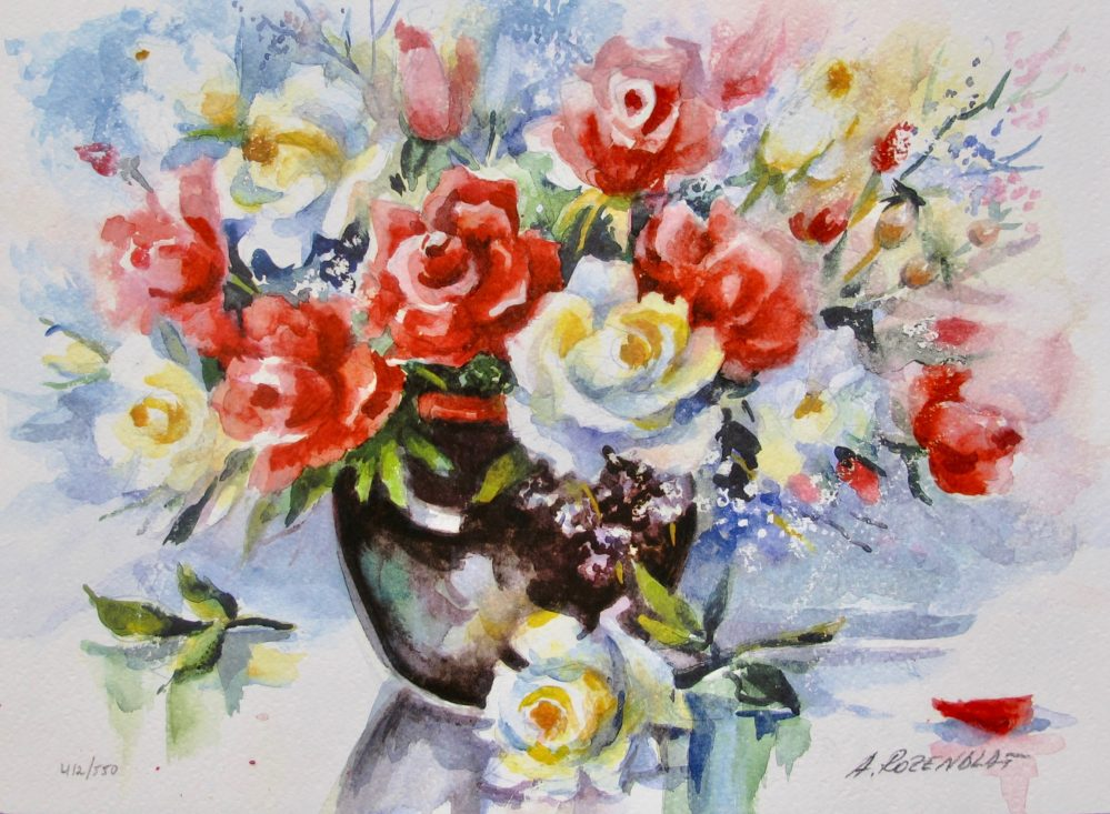ANA ROSENBLAT Bouquet of Roses Hand Signed Limited Edition Serigraph