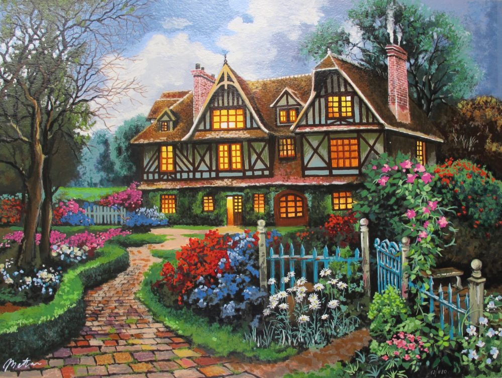 ANATOLY METLAN COUNTRY COTTAGE Hand Signed Limited Edition Serigraph