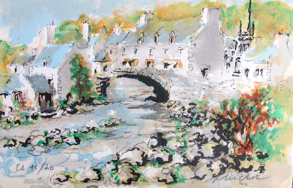 Urbain Huchet BRIDGE IN POINT AVEN Hand Signed Limited Edition Lithograph