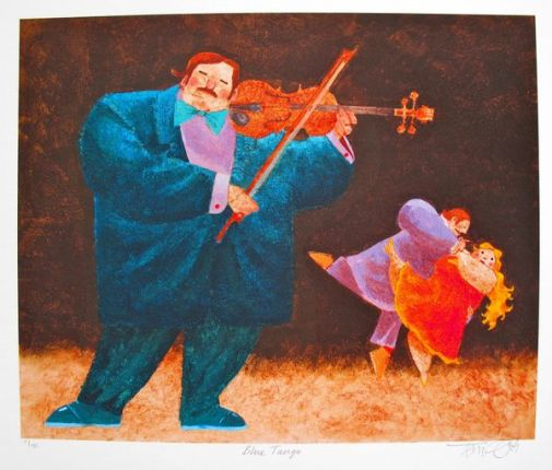 Toni Goffe BLUE TANGO Hand Signed Limited Edition Giclee