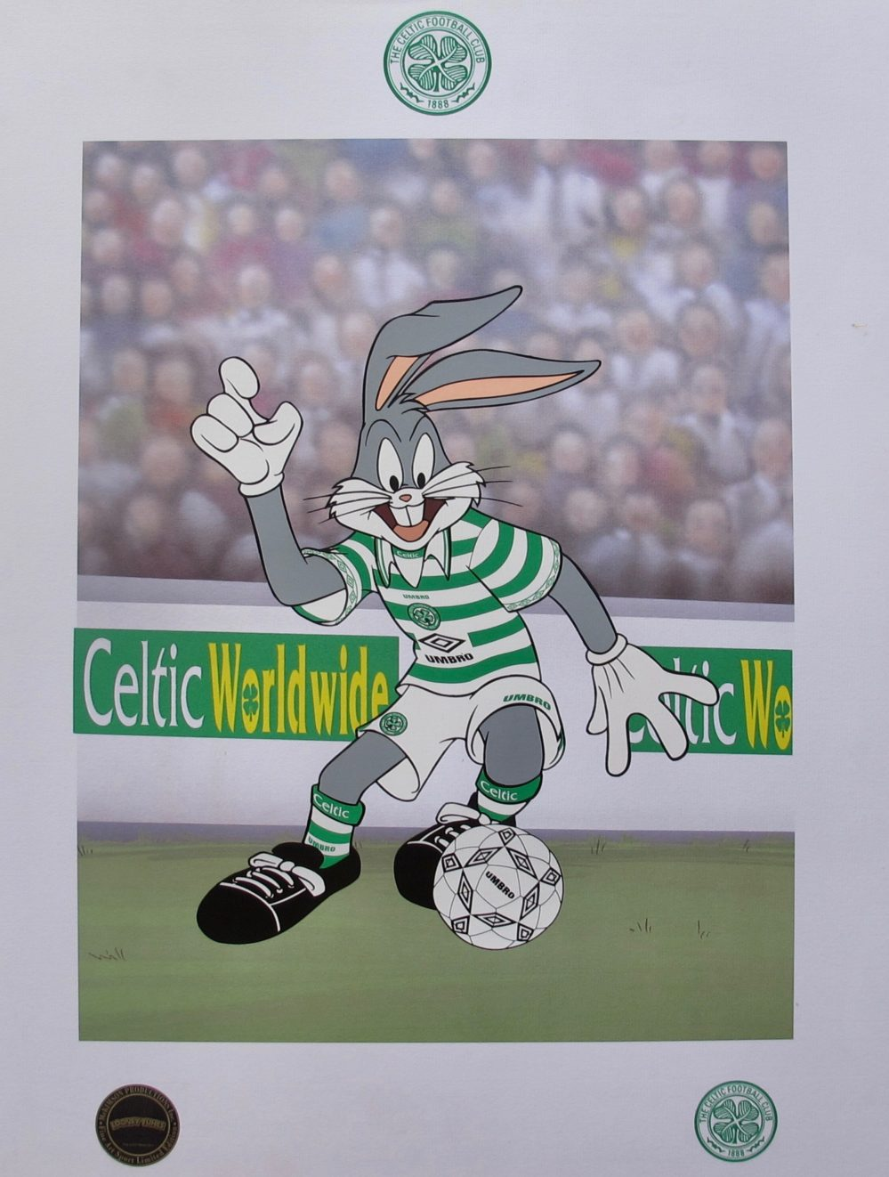 BUGS BUNNY CELTIC SOCCER LOONEY TUNES Limited Edition Art Lithograph Football