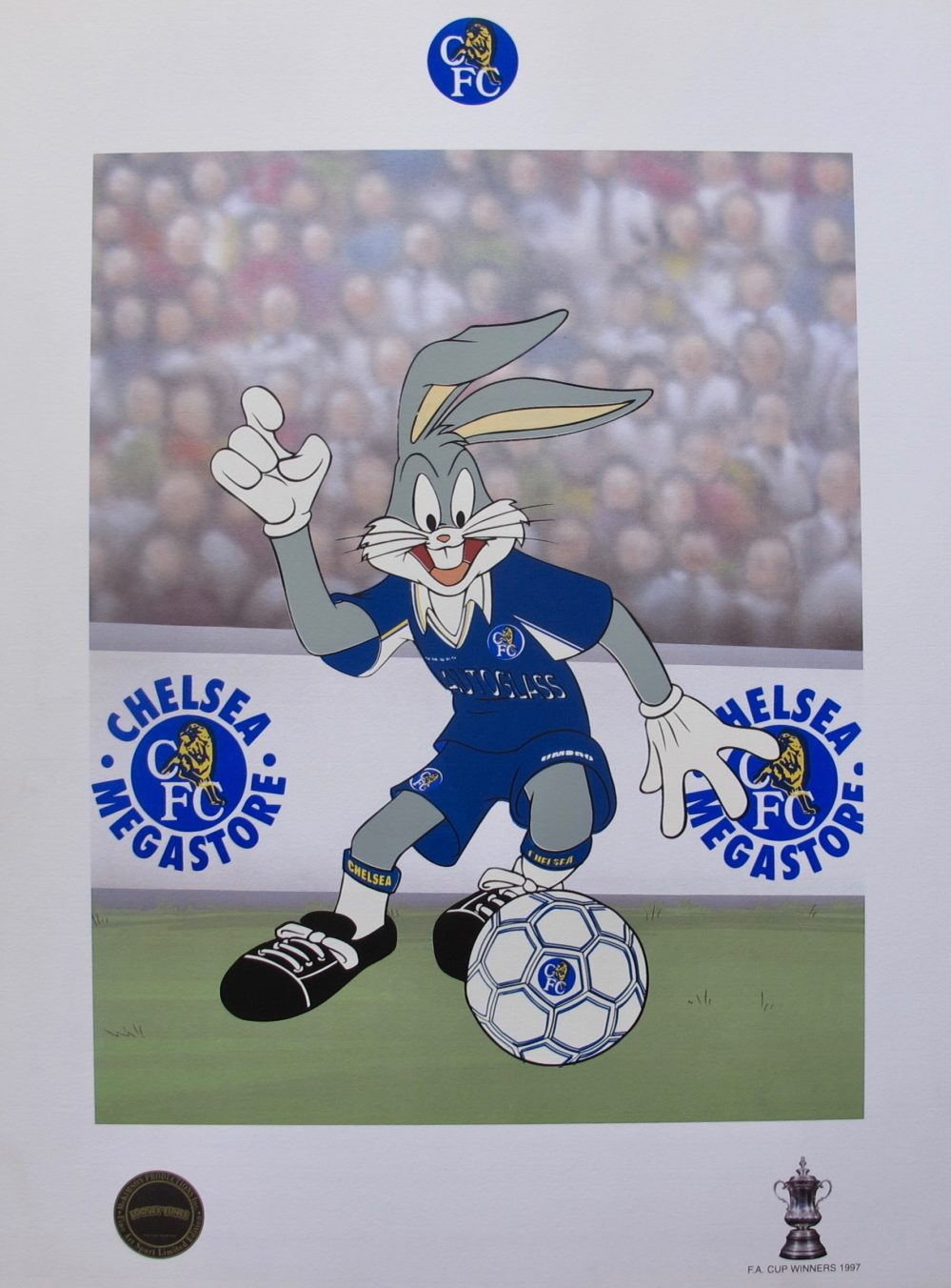 BUGS BUNNY CHELSEA SOCCER LOONEY TUNES Limited Edition Art Lithograph Football