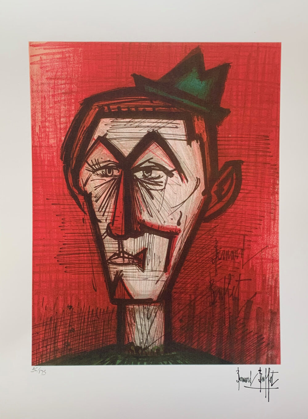 Bernard Buffet LE CLOWN RED Facsimile Signed Limited Edition Giclee