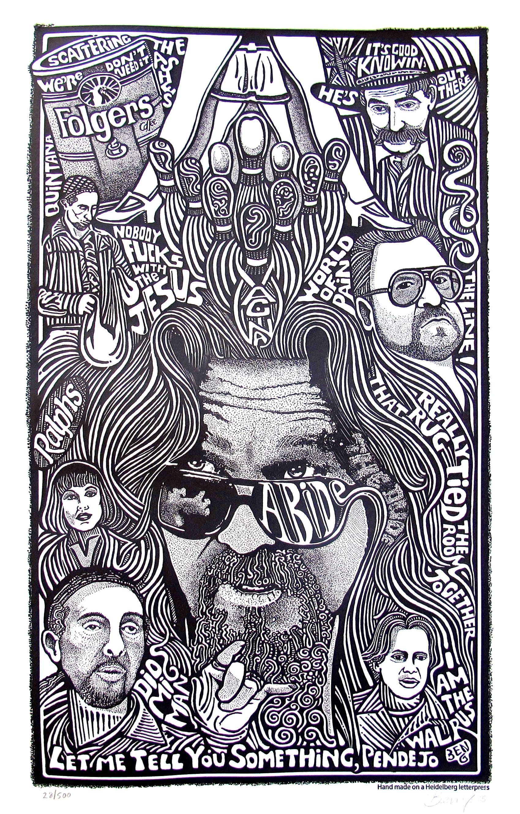 THE BIG LEBOWSKI MOVIE Psychedelic Hand Signed Posterography Letterpress ART