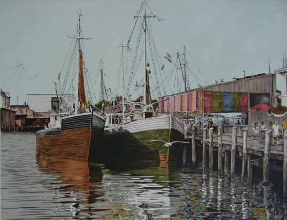 Mark Stevens BOAT HARBOR Hand Signed Lithograph