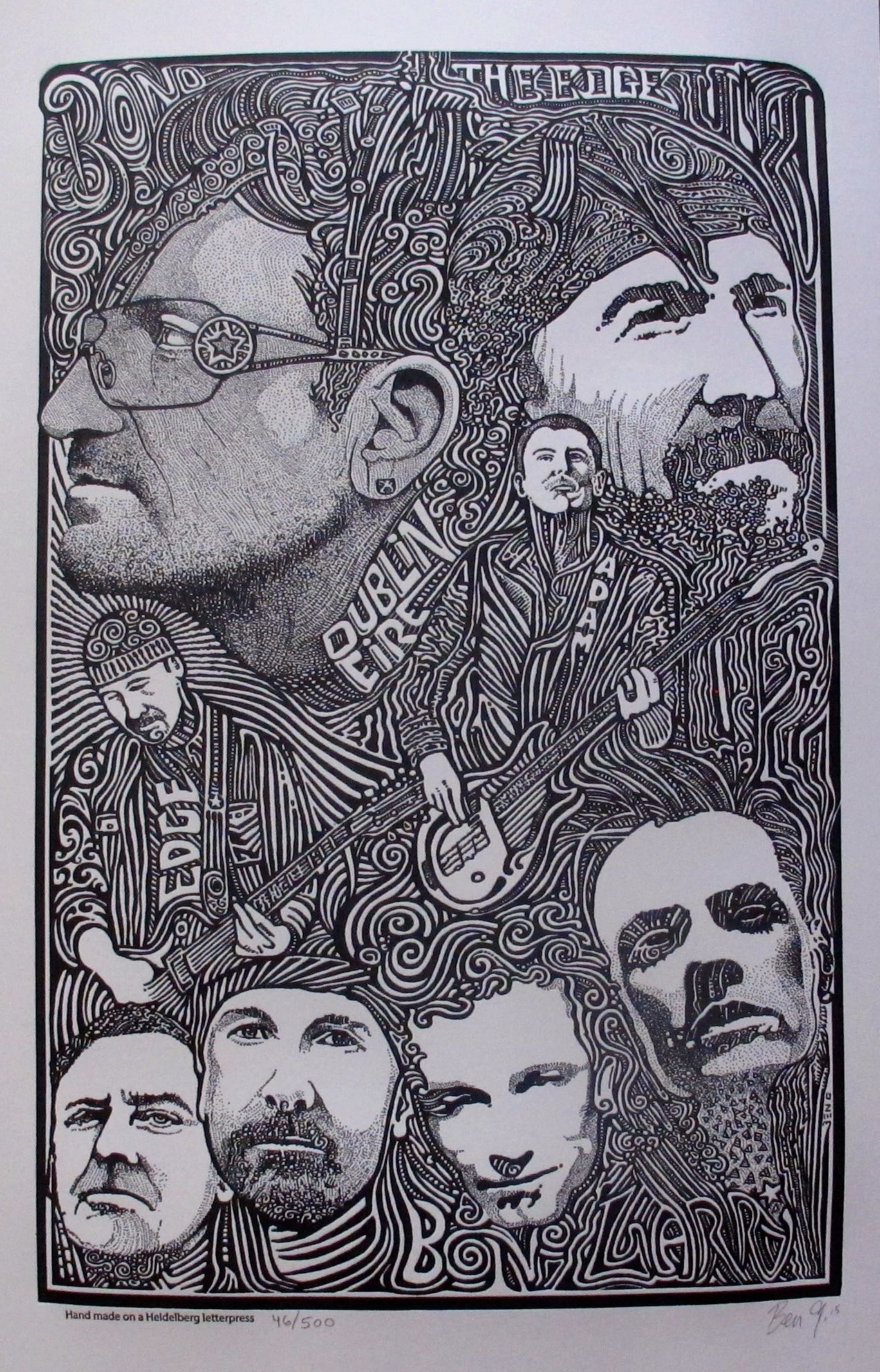 U2 BONO Psychedelic Hand Signed Posterography Letterpress ART Music Band