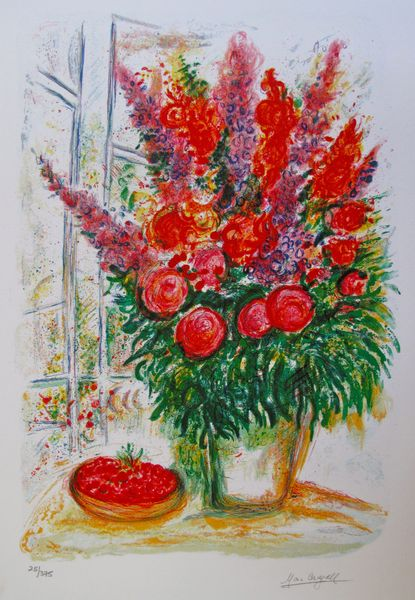 Marc Chagall BOUQUET WITH BOWL OF CHERRIES Limited Edition Small Giclee