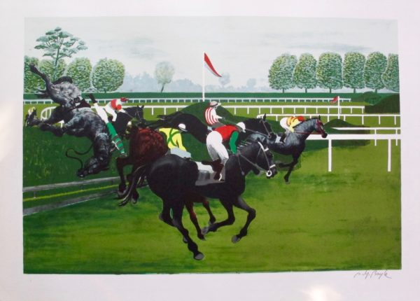 PIERRE CHARLES BAYLE The Steeplechase Hand Signed Lithograph Horse Racing Art