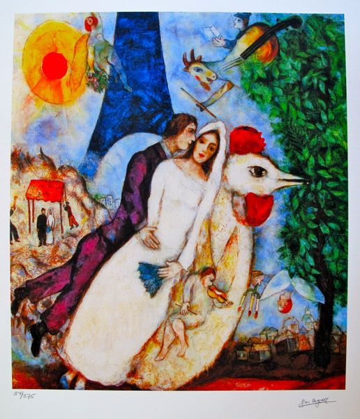 Marc Chagall BRIDE & GROOM OF THE EIFFEL TOWER Limited Edition Small Giclee