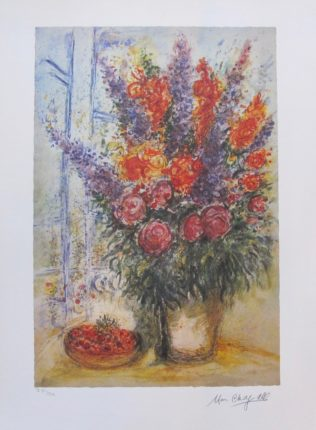MARC CHAGALL Bouquet With Bowl of Cherries Facsimile Signed Ltd Edition Lithograph