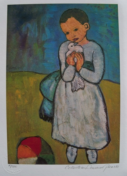 Pablo Picasso CHILD WITH DOVE Estate Signed Limited Edition Small Giclee