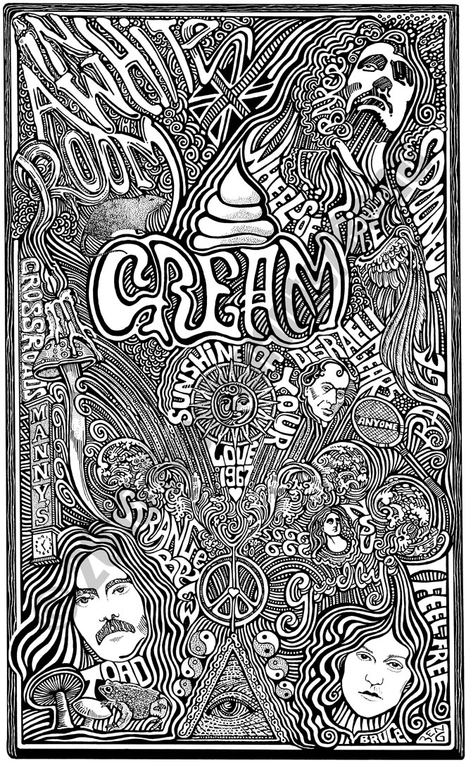CREAM BAND Psychedelic Hand Signed Posterography Letterpress ART