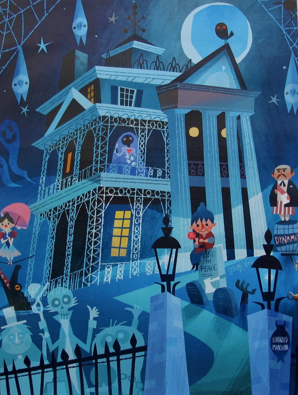 DISNEY HAUNTED MANSION RIDE Art Giclee on Canvas by Joey Chou
