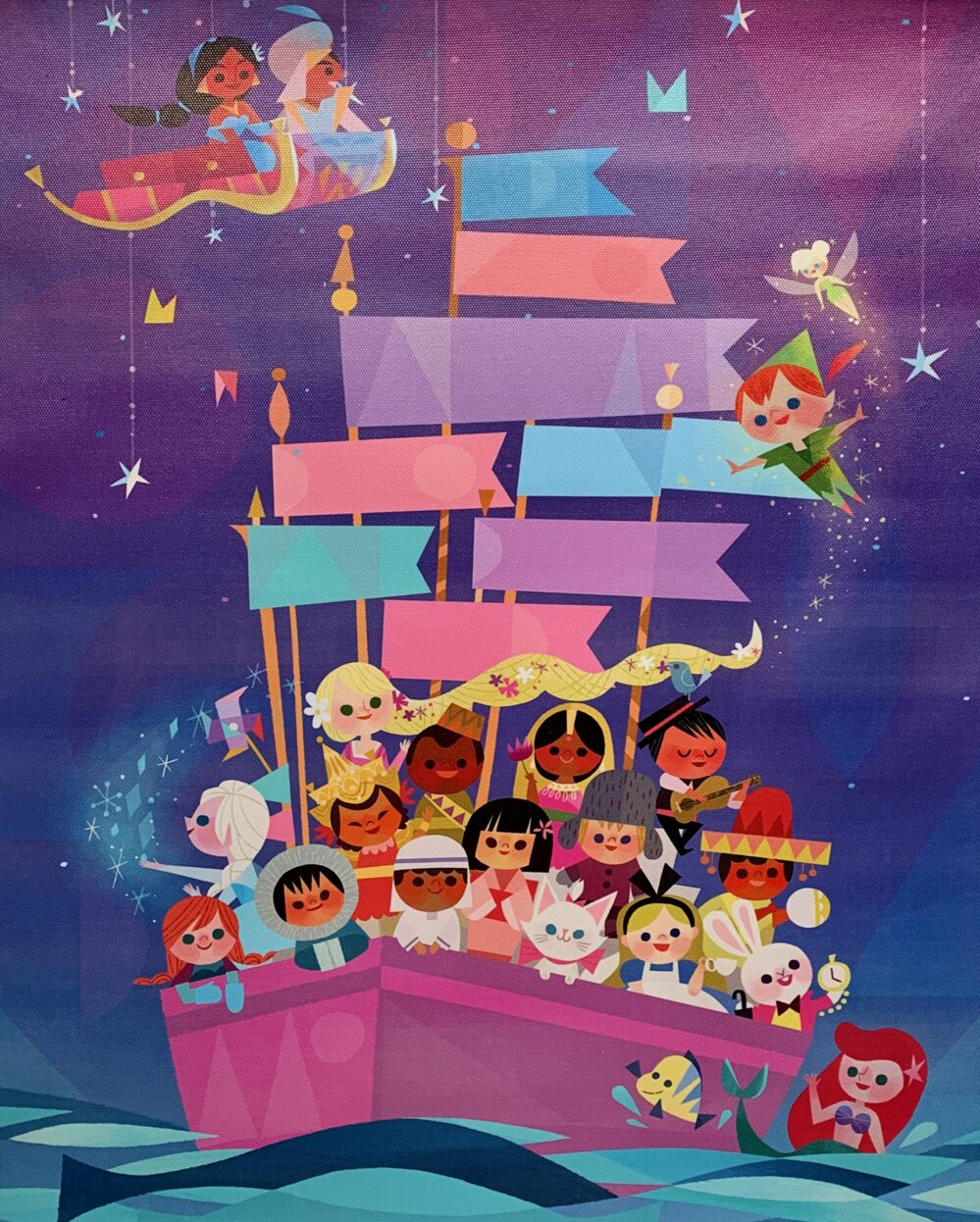 DISNEY IT'S A SMALL WORLD RIDE Art Giclee on Canvas by Joey Chou