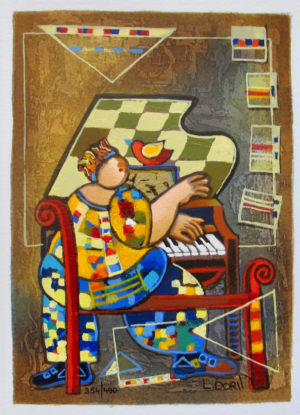 Dorit Levi THE GRAND PIANO Hand Signed Limited Edition Serigraph