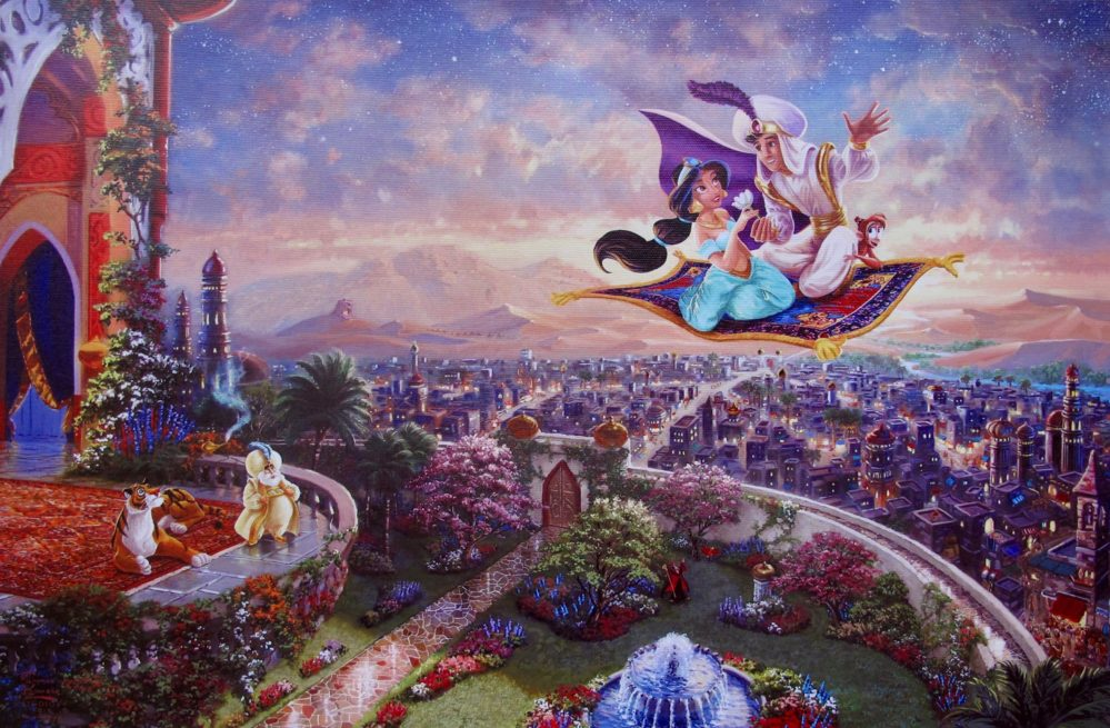THOMAS KINKADE Aladdin & Jasmine Magic Carpet Ride Giclee on Canvas