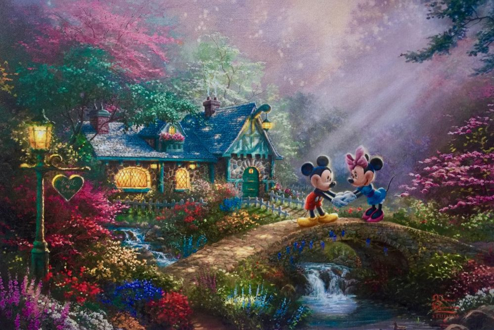 Disney MICKEY MINNIE MOUSE SWEETHEART BRIDGE Giclee on Canvas