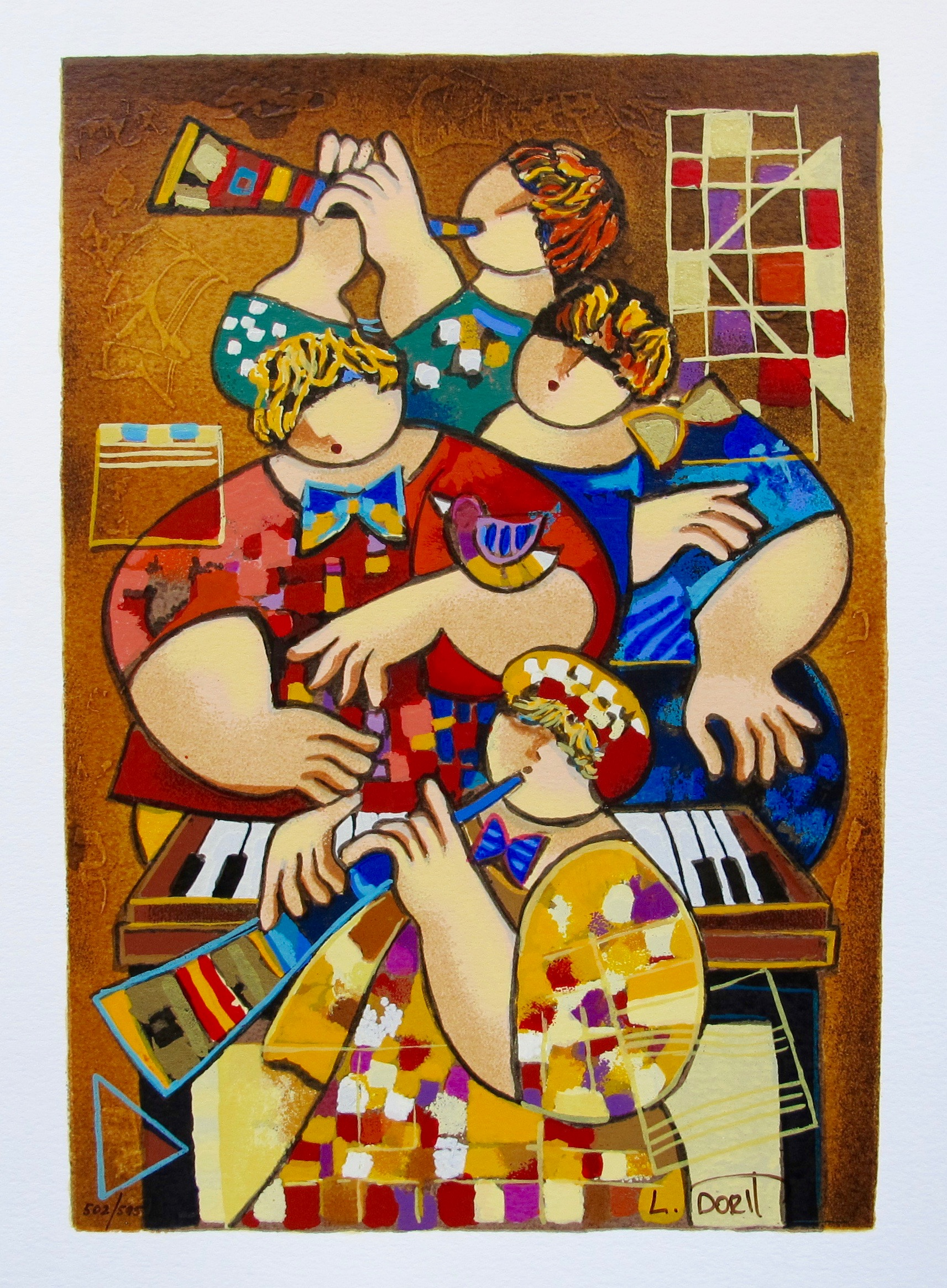 "DORIT LEVI ""SUMMER TUNE"" Hand Signed Limited Edition Serigraph"