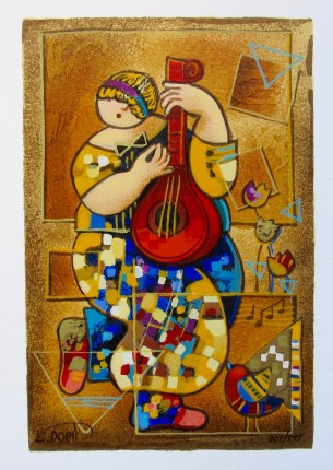 Dorit Levi BANJO SONG Hand Signed Limited Edition Serigraph