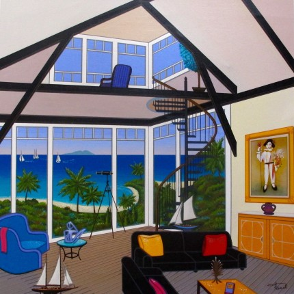 "FANCH LEDAN ""DUPLEX OVER STINSON"" Hand Signed Serigraph on Canvas"