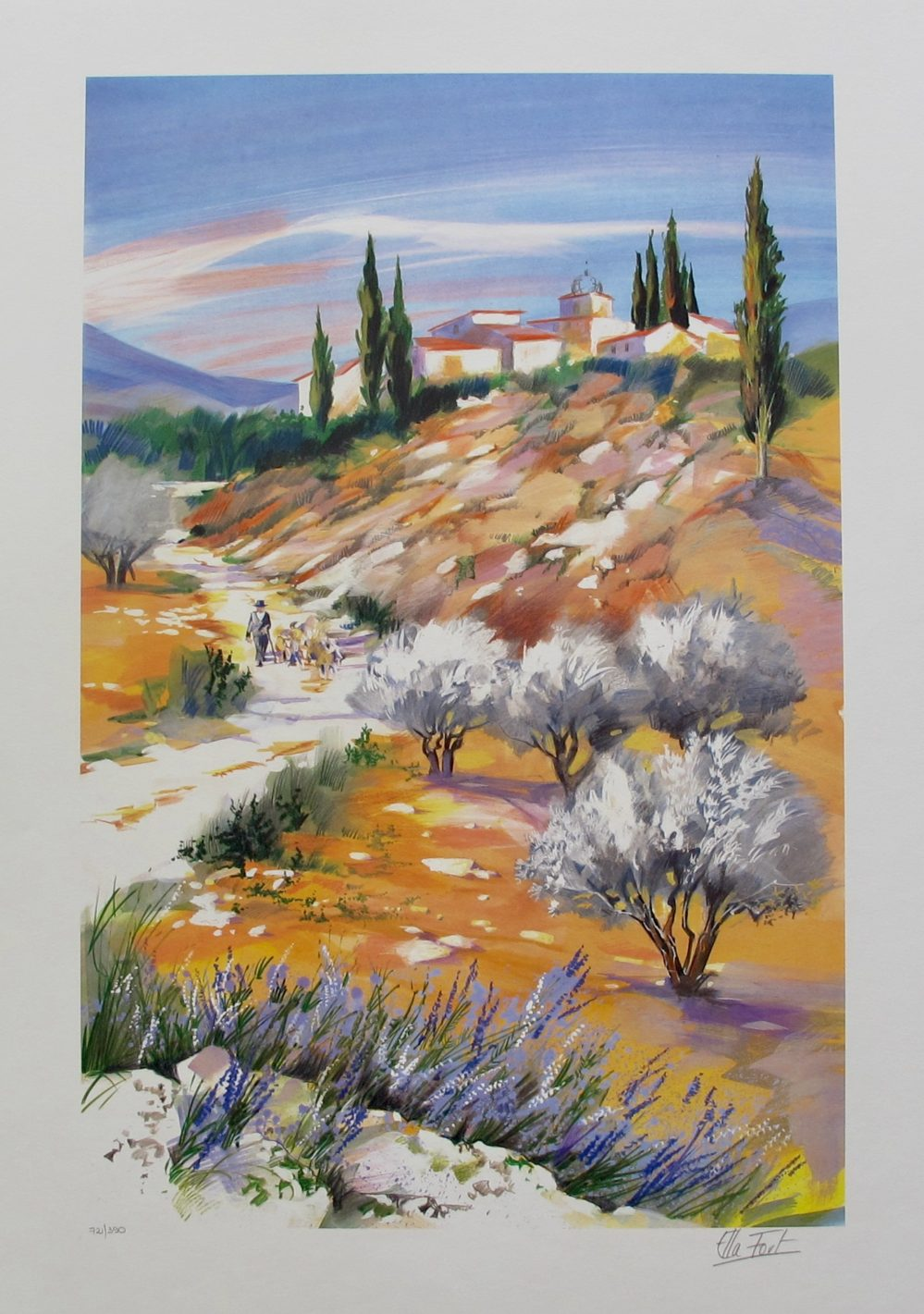 """ELLA FORT """"LANDSCAPE IN PROVENCE VALLEY"""" Hand Signed Limited Edition Lithograph"""