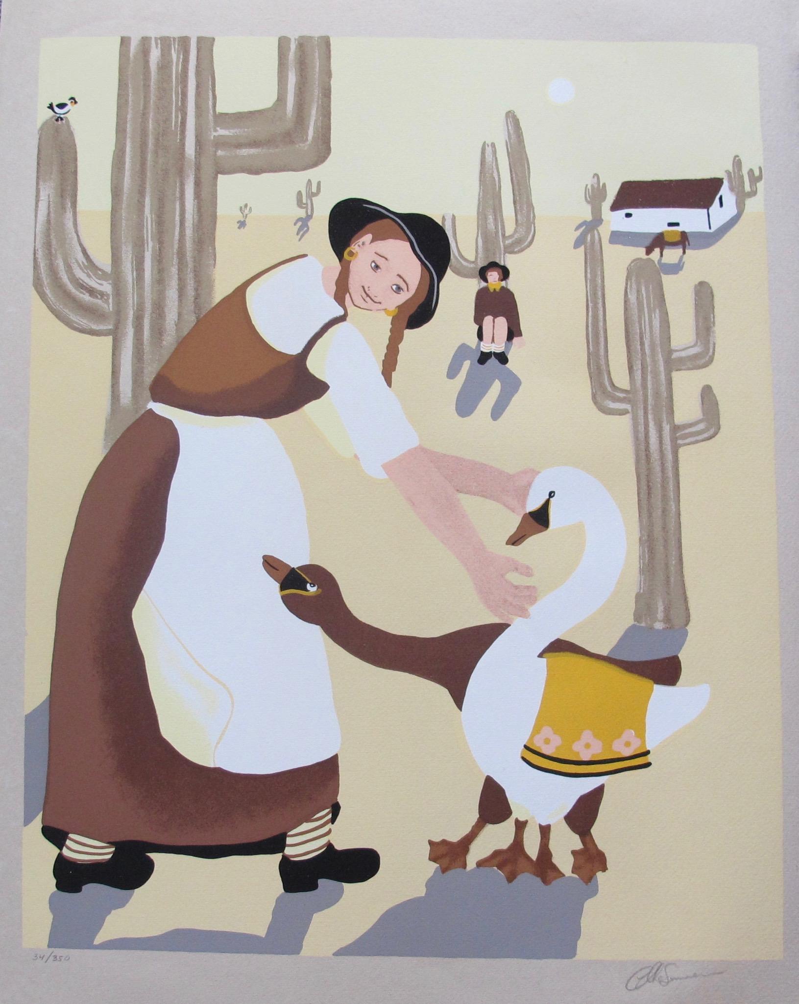 ELKE SOMMER Happy is the Desert Hand Signed Limited Edition Serigraph Folk Art