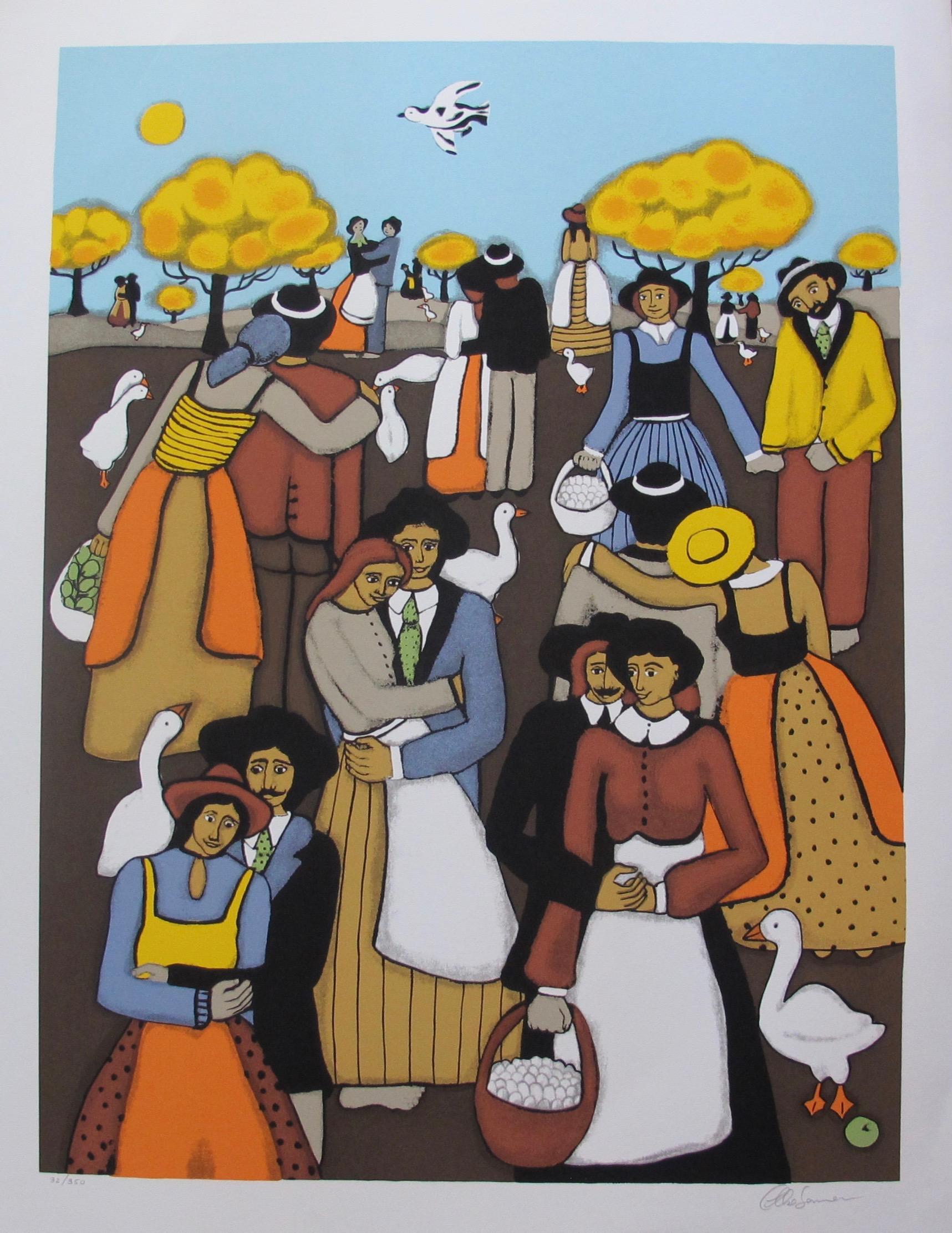 ELKE SOMMER The Lovers Hand Signed Limited Edition Serigraph Folk Art