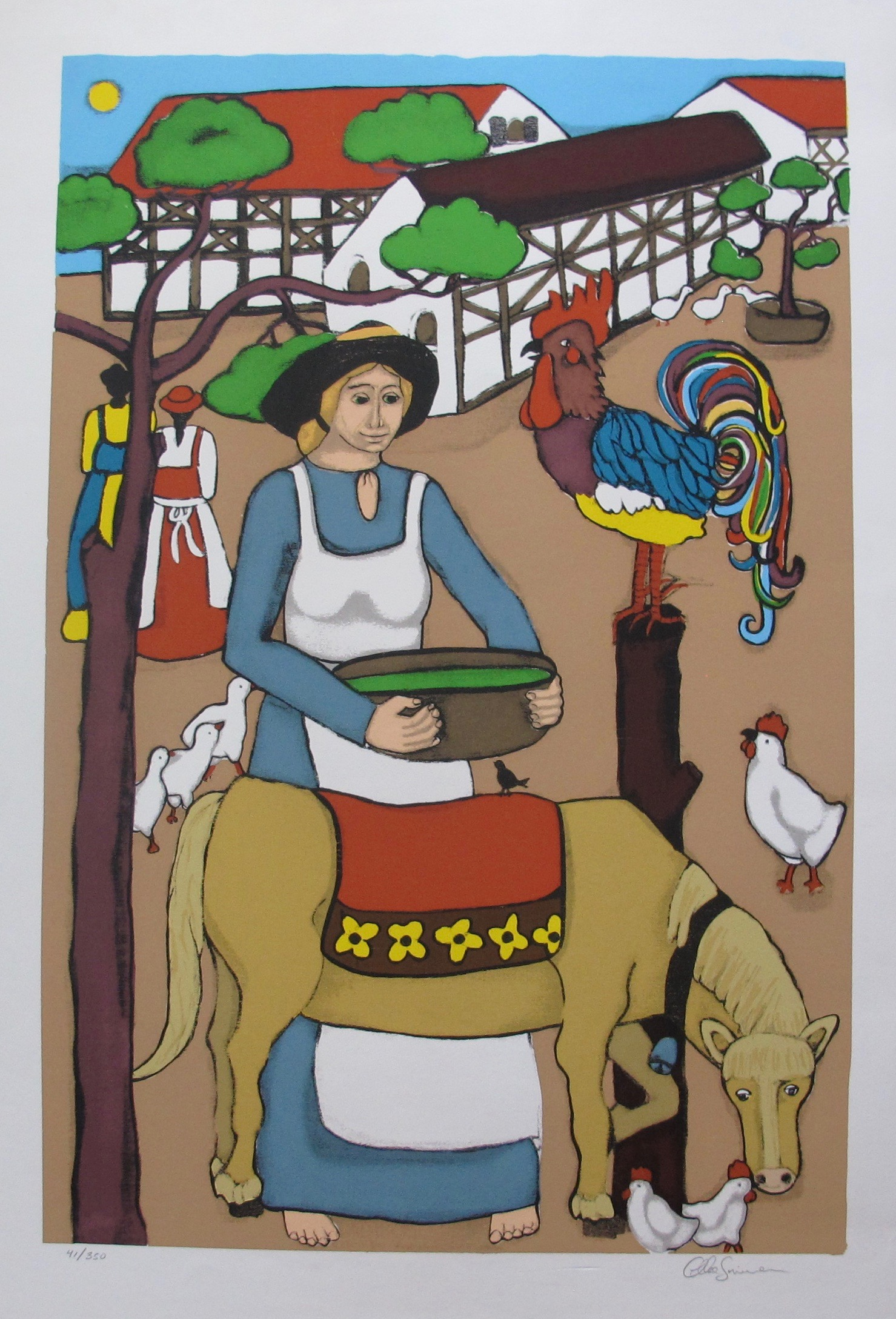 ELKE SOMMER Floating Donkey Hand Signed Limited Edition Serigraph Folk Art