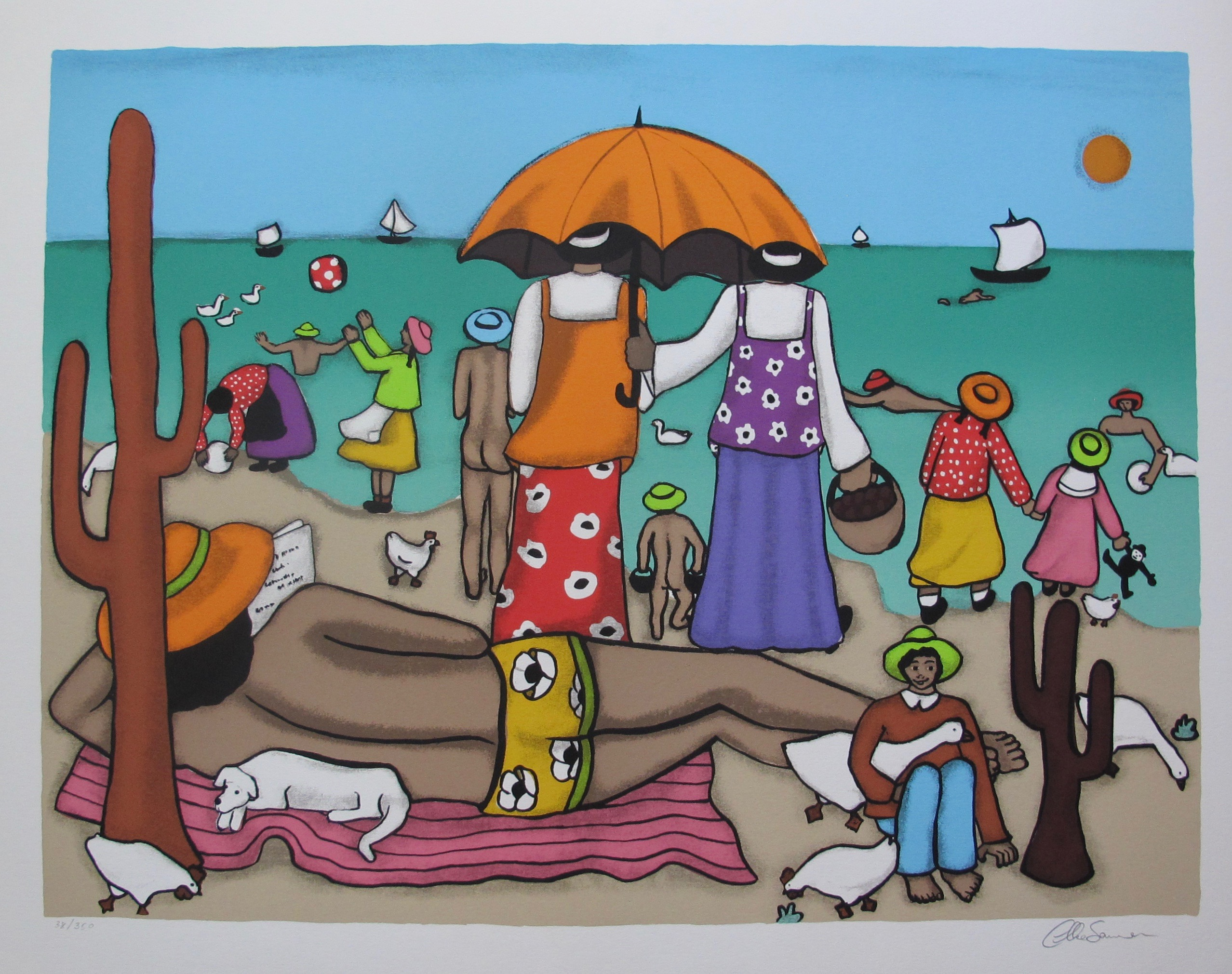 ELKE SOMMER On the Beach Hand Signed Limited Edition Serigraph Folk Art