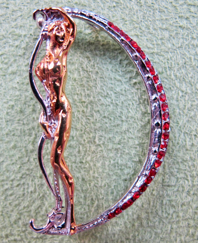 ERTE Initial D Signed Gold Sterling Silver Swarovski Crystals Art Pendant Brooch