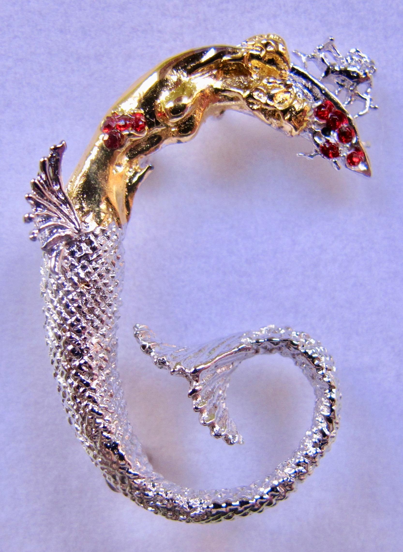 ERTE Initial G Signed Gold Sterling Silver Swarovski Crystals Art Pendant Brooch