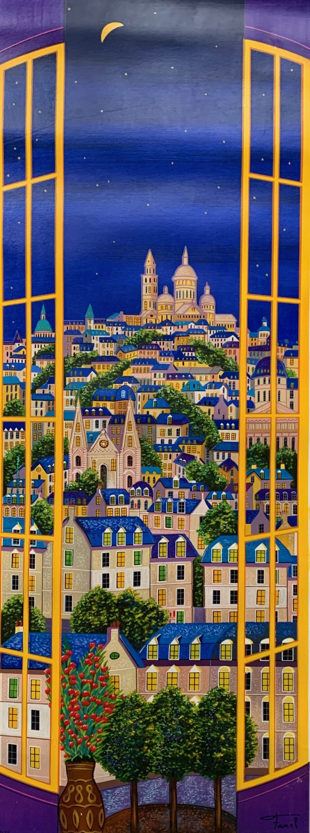 FANCH LEDAN Window on Paris Hand Signed Limited Edition Serigraph on Canvas