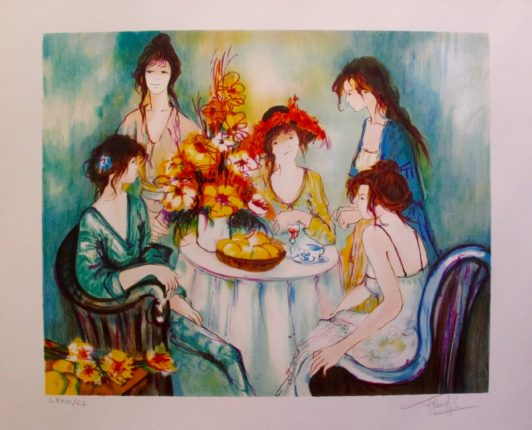 Franck L TEA PARTY Hand Signed Limited Edition Lithograph