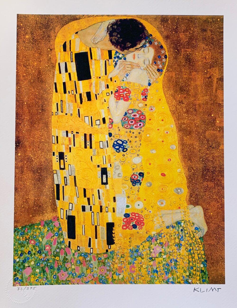 Gustav Klimt THE KISS Facsimile Signed Limited Edition Giclee