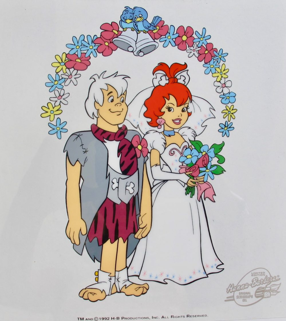 HANNA BARBERA FLINTSTONES PEBBLES & BAM BAM WEDDING Animation Art Sericel Cel