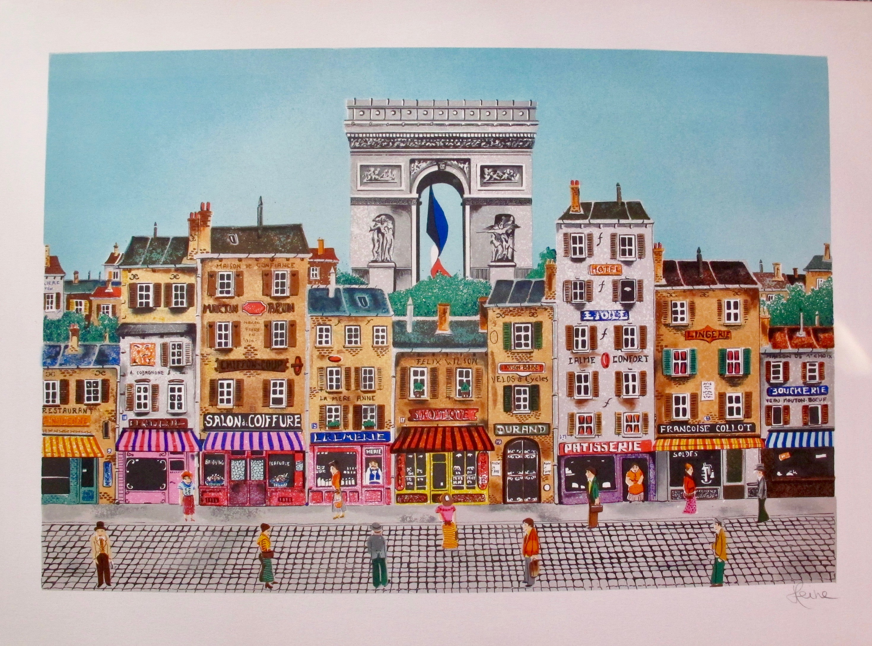 HEINE Arc de Triomphe Hand Signed Limited Edition Lithograph FRANCE French Art