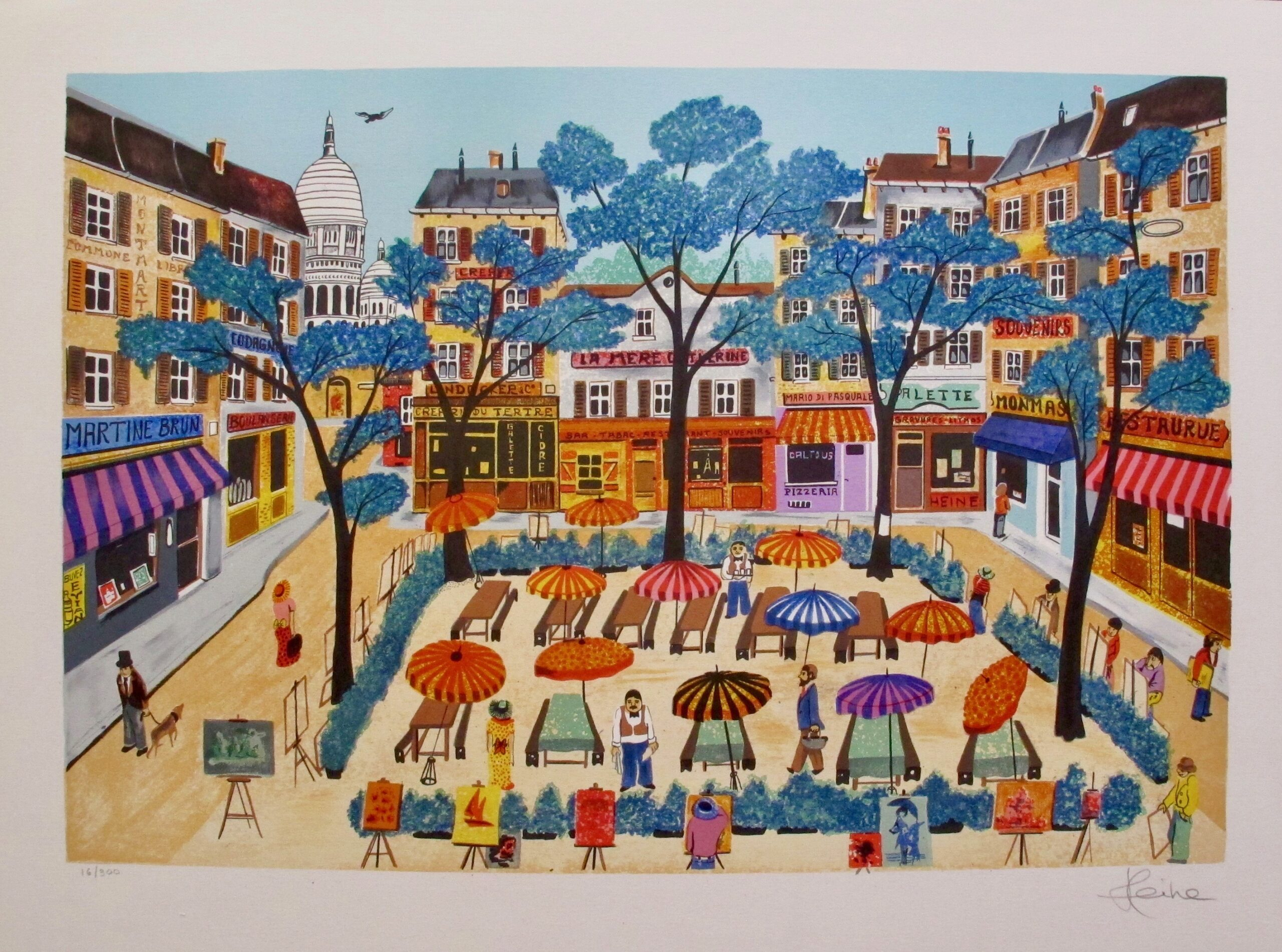 This is a lithograph by French artist Heine titled MONTMARTE.