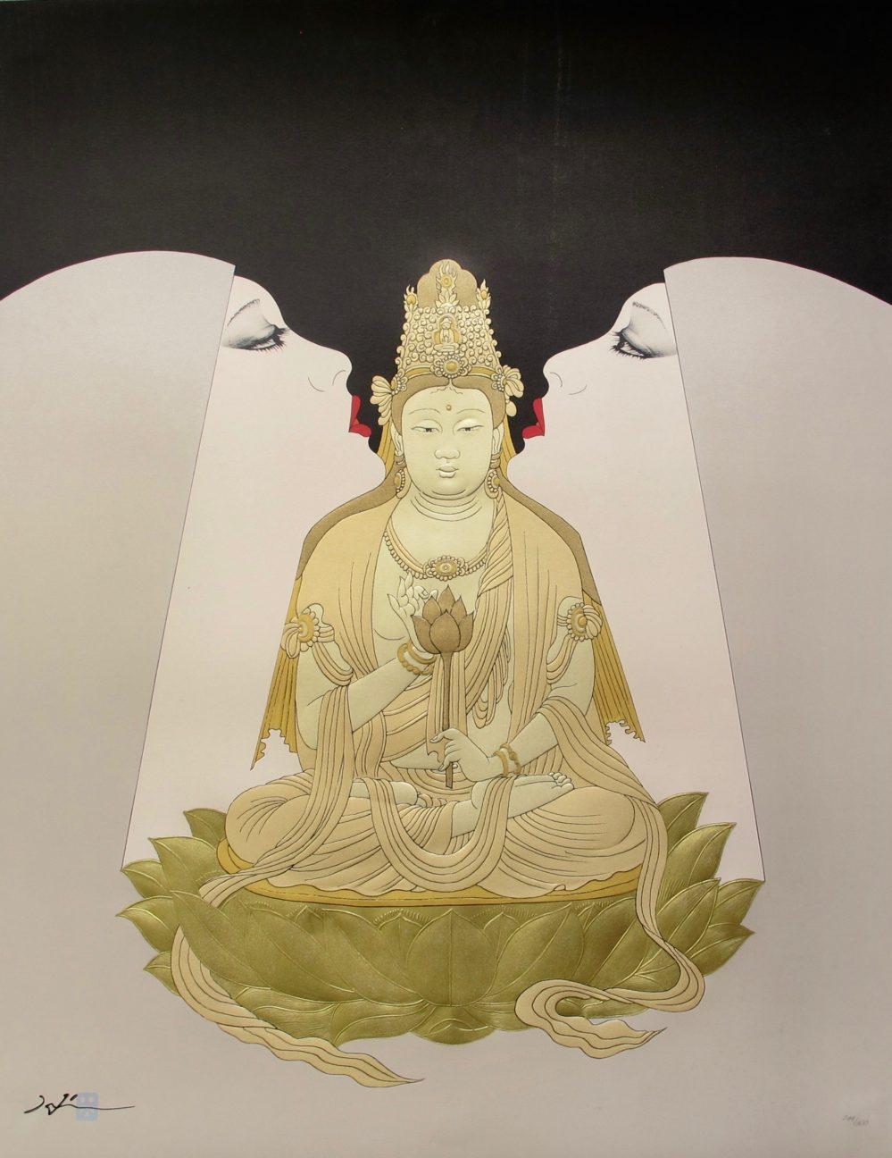 Hisashi Otsuka HARMONY Hand Signed Limited Edition Art Pearl & Gold Leaf BUDDHA