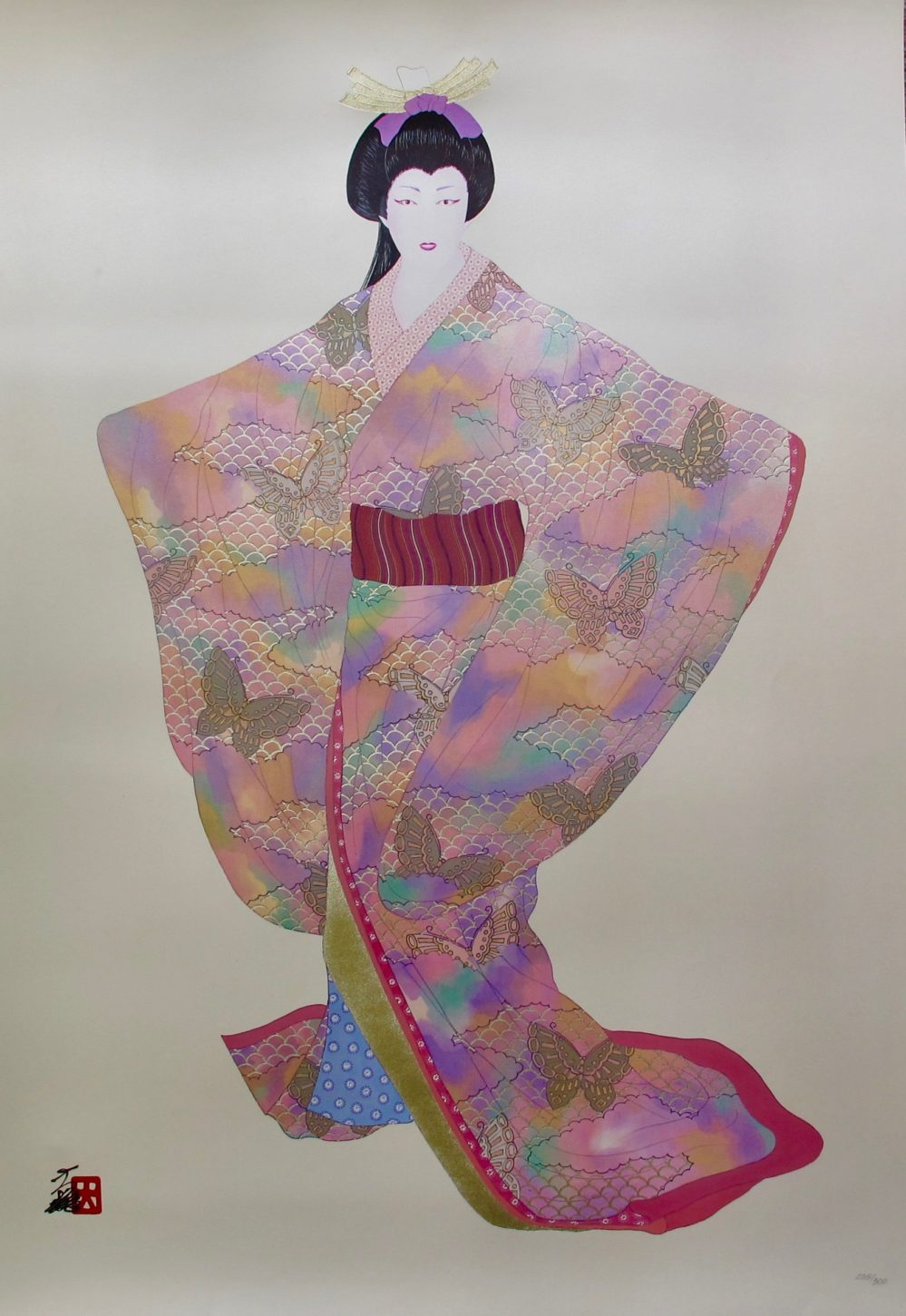 Hisashi Otsuka LADY MEIKO OF SPRING Hand Signed Limited Edition Art Pearl & Gold Leaf